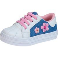 Tênis Menina Fashion Flores Jeans Cadarço Elástico 157.28.031 Branco/Azul/Rosa