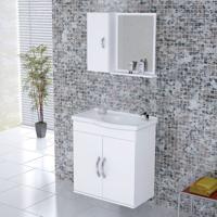 Kit Gabinete + Espelheira Para Banheiro 55,5Cm Mdf Verona Suspenso Branco Com Pia - Rorato - Rorato