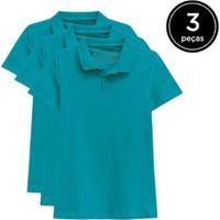 Kit 3 Camisas Polo Basicamente Feminino - Feminino-Verde