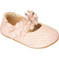 Sapato Boneca Com Flores & Microfuros - Rosa Claro-Luluzinha