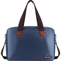 Bolsa Para Viagem & Academia- Azul Escuro & Marrom- Jacki Design