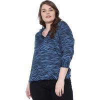 Blusa Gris Plus Zebra Azul