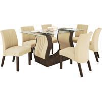 Conjunto De Mesa De 1.70M Com 6 Cadeiras Fortuna Chocolate Tecido Animale Bege Ii Lj Móveis