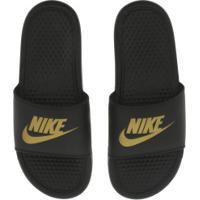 Chinelo Nike Benassi Jdi - Slide - Masculino - Preto/Ouro