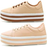 Kit 2 Tênis Casual Ousy Shoes Sapatenis Flatform Nude