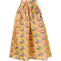 Horror Vacui Floral Printed Flared Skirt - Amarelo