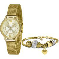 Kit De Relógio Analógico Lince Feminino + Pulseira - Lrgh149L Ky46C1Kx Dourado