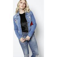 Casaco Jeans Com Patches - Azul Claro & Vermelhosawary