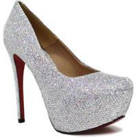 8194d035f0 ... Scarpin Zariff Shoes Pump Glitter - Feminino-Prata