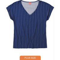 Blusa Azul Royal Listrada Conforto