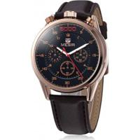 Relógio Megir 2508 Masculino Pulseira Couro - Dourado