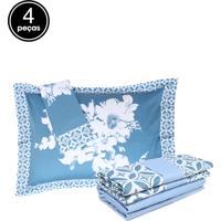 Jogo De Cama 4Pçs King Altemburg Essence Windsor 200 Fios Azul
