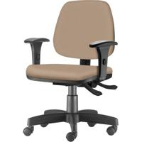Cadeira Job Com Bracos Assento Crepe Bege Base Rodizio Metalico Preto - 54600 - Sun House