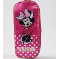 Estojo Escolar Infantil Minnie Com Divisórias Pink - Único