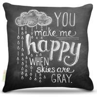 Almofada Nerderia Lousa You Make Me Happy 45X45Cm - Kanui