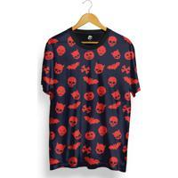Camiseta Bsc Skull Halloween Total Full Print - Masculino-Azul