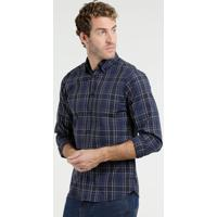 Camisa Quadriculada Masculina Azul - MuccaShop af39420729027