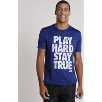 "Camiseta Masculina Esportiva Ace ""Play Hard"" Manga Curta Gola Careca Azul Royal"