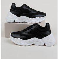 Tênis Feminino Oneself Sneaker Chunky Com Recortes Preto