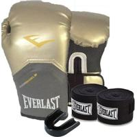 Kit Boxe Elite Pro Style 10Oz Dourada Everlast - Unissex