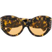 Valentino Eyewear Óculos De Sol Gatinho Oversized - Marrom