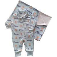 Kit Saída Maternidade Com Macacão E Manta Ursinho Príncipe Azul Calupa