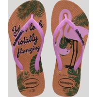 Chinelo Infantil Havaianas Slim Glitter Estampado De Flamingo Rosê