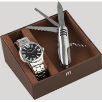 Kit De Relógio Analógico Mondaine Masculino + Canivete - 99059G0Mvne1K Prateado