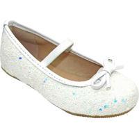 Sapato Boneca Flocada Laço - Branca & Azul- Luluzinluluzinha