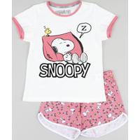 Pijama Infantil Snoopy Manga Curta Off White