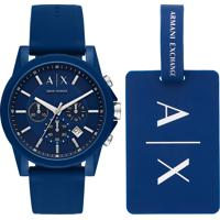 Kit De Relógio Analógico Armani Exchange Masculino + Tag De Mala - Ax71078An Azul