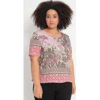 Blusa Floral & Geométrica- Verde & Rosa Escuro- Cottcotton Colors Extra