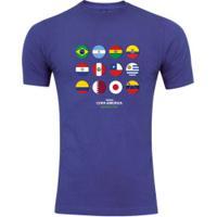 Camiseta Adams Básica Futebol - Masculina - Azul - Bandeiras Copa América 2019 - Azul