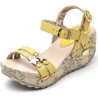 Sandalia Top Franca Shoes Betina Beker Plataforma Anabela Feminina - Feminino-Amarelo