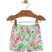 Short Flamingos- Verde Claro & Pinkup Baby - Up Kids