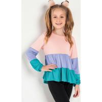 Blusa Infantil Com Recortes Tricolor Rosa