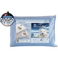 Travesseiro Nasa Alto Frostygel Azul Fibrasca Para Fronhas 50X70Cm - Branco - Dafiti