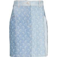 Marine Serre Crescent Moon Print Denim Mini Skirt - Azul
