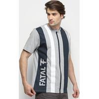 Camiseta Fatal Estampa Vertical Masculina - Masculino-Mescla