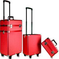 Maleta De Maquiagem Rodinhas Rubys Grande Profissional Fs-1204W Vermelha - Tricae
