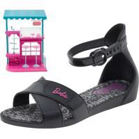 Sandália Infantil Feminina Barbie Confeitaria Preta Grendene Kids - 21921