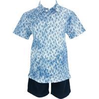 Conjunto Infantil Club Z Camisa Polo Bermuda Marinheiro Azul
