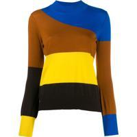 Chinti & Parker Blusa Color Block Listrada - Azul