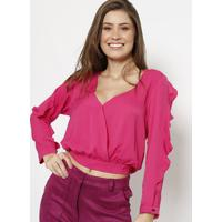 Blusa Lisa Com Babados & Transpasse - Rosa - Chocolechocoleite