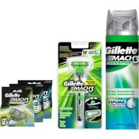Kit Gillette Mach3: 1 Aparelho Sensitive + 8 Cargas Regulares + 2 Cargas Sensitive + Espuma De Barbear 245G - Kanui