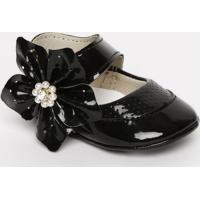 Sapato Boneca Com Microfuros & Flor- Preto- Ticco Batico Baby