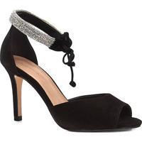 Sandália Shoestock Salto Fino Nobuck Cristal Feminina - Feminino-Preto