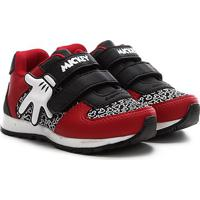 Tênis Infantil Disney Mickey Mão Jogging Velcro Masculino - Masculino-Vermelho+Preto