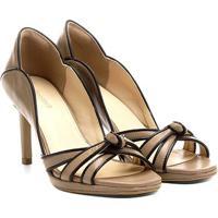 Peep Toe Couro Shoestock Meia Pata Bicolor - Feminino-Bege