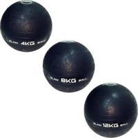 3 Bolas Medicine Slam Ball Para Crossfit 4, 8 E 12Kg Liveup - Unissex